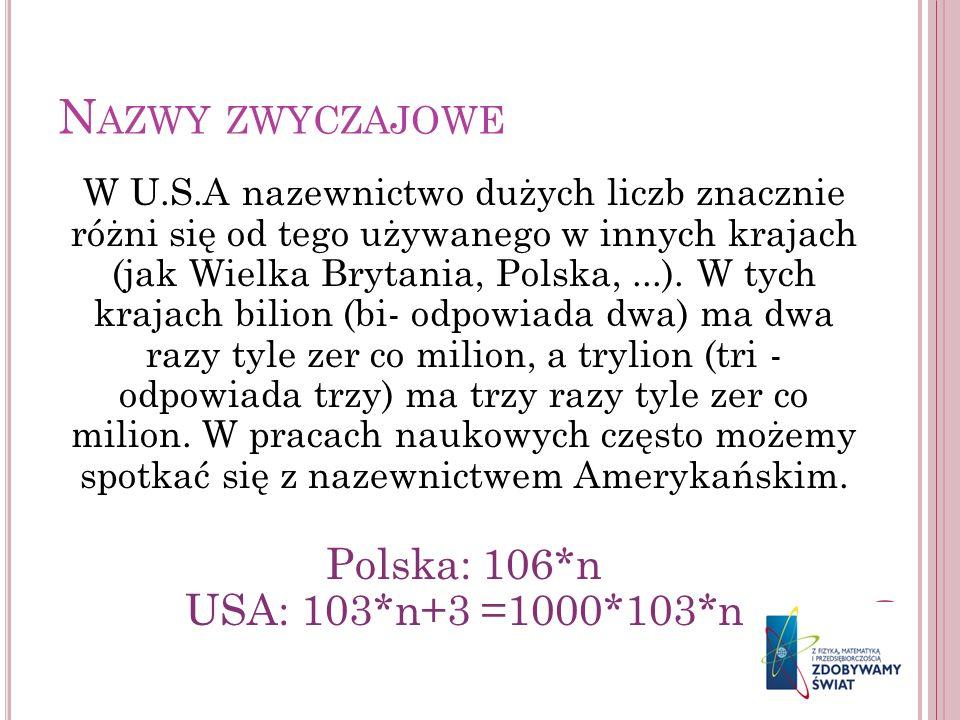 N AZWY ZWYCZAJOWE W U.S.A nazewnictwo dużych liczb znacznie różni się od tego używanego w innych krajach (jak Wielka Brytania, Polska,...). W tych kra
