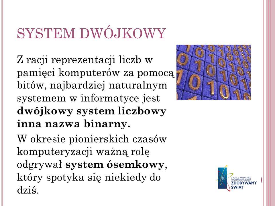SYSTEM DWÓJKOWY Z racji reprezentacji liczb w pamięci komputerów za pomocą bitów, najbardziej naturalnym systemem w informatyce jest dwójkowy system l