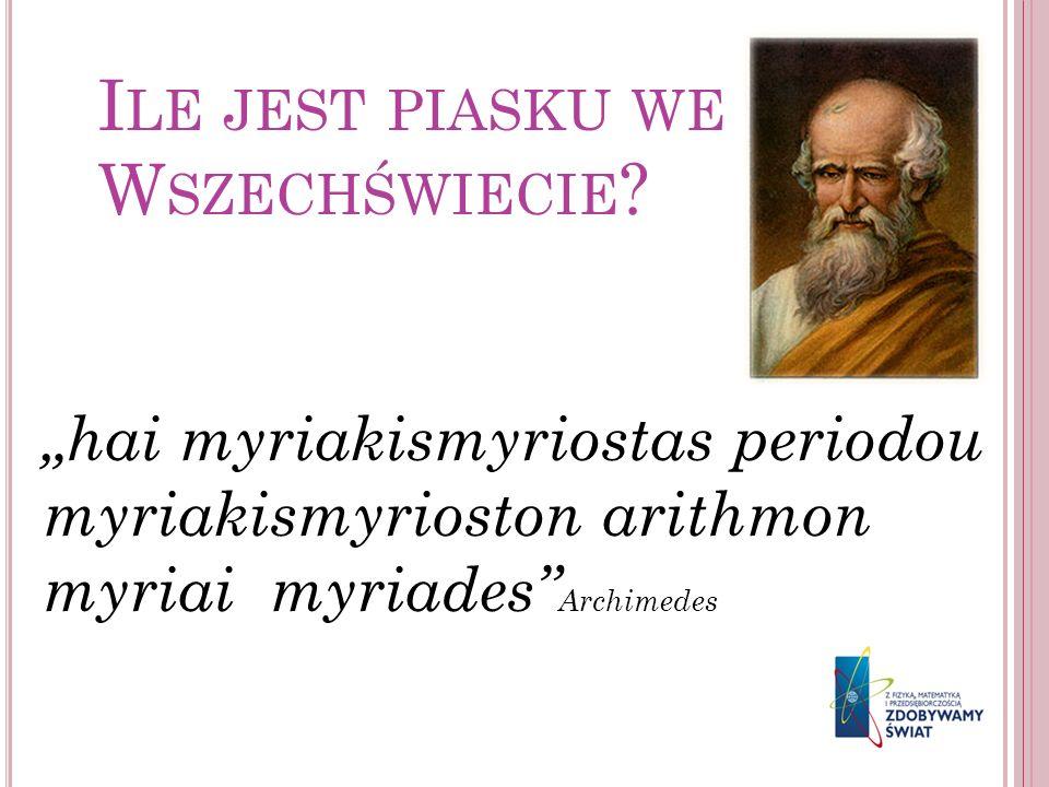 I LE JEST PIASKU WE W SZECHŚWIECIE ? hai myriakismyriostas periodou myriakismyrioston arithmon myriai myriades Archimedes