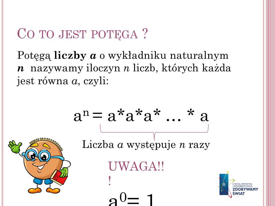 C O TO JEST POTĘGA ? Potęgą liczby a o wykładniku naturalnym n nazywamy iloczyn n liczb, których każda jest równa a, czyli: a n = a*a*a* … * a Liczba