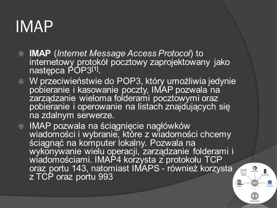 SMTP SMTP (ang.) Simple Mail Transfer Protocol – protokół komunikacyjny opisujący sposób przekazywania poczty elektronicznej w Internecie.