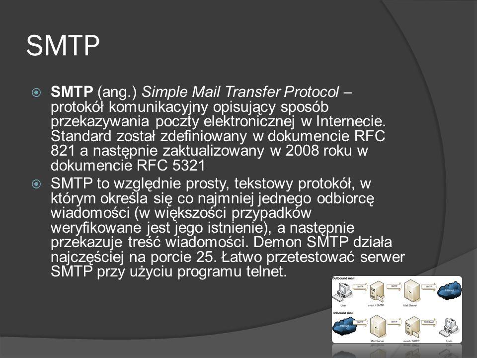POP3 Post Office Protocol version 3 (POP3) to protokół internetowy z warstwy aplikacji pozwalający na odbiór poczty elektronicznej ze zdalnego serwera do lokalnego komputera poprzez połączenie TCP/IP.