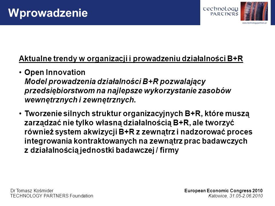 Aktualne trendy w organizacji i prowadzeniu działalności B+R Open Innovation Model prowadzenia działalności B+R pozwalający przedsiębiorstwom na najlepsze wykorzystanie zasobów wewnętrznych i zewnętrznych.