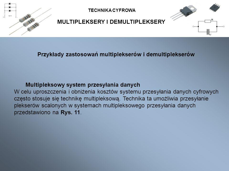 MULTIPLEKSERY I DEMULTIPLEKSERY TECHNIKA CYFROWA Przykłady zastosowań multiplekserów i demultiplekserów Multipleksowy system przesyłania danych W celu