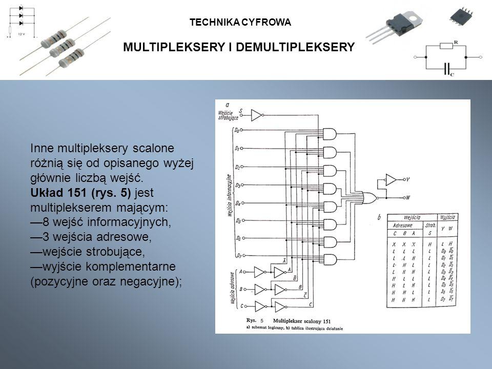 MULTIPLEKSERY I DEMULTIPLEKSERY TECHNIKA CYFROWA Inne multipleksery scalone różnią się od opisanego wyżej głównie liczbą wejść. Układ 151 (rys. 5) jes