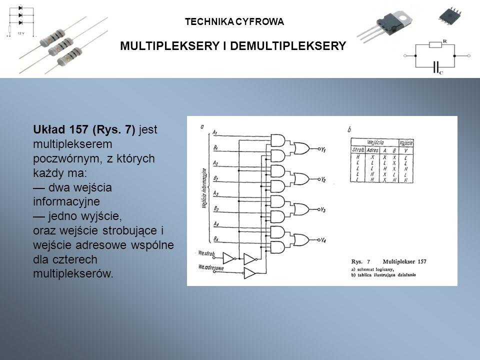 MULTIPLEKSERY I DEMULTIPLEKSERY TECHNIKA CYFROWA Układ 157 (Rys. 7) jest multiplekserem poczwórnym, z których każdy ma: dwa wejścia informacyjne jedno