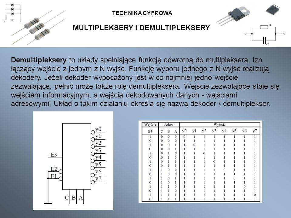 MULTIPLEKSERY I DEMULTIPLEKSERY TECHNIKA CYFROWA Demultipleksery to układy spełniające funkcję odwrotną do multipleksera, tzn. łączący wejście z jedny