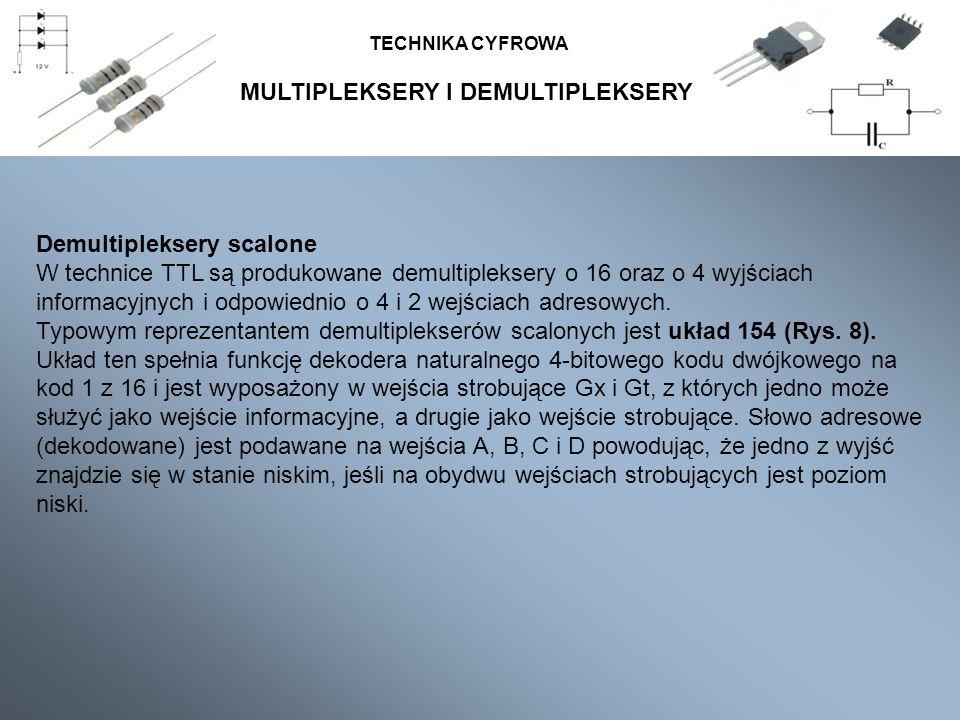MULTIPLEKSERY I DEMULTIPLEKSERY TECHNIKA CYFROWA Demultipleksery scalone W technice TTL są produkowane demultipleksery o 16 oraz o 4 wyjściach informa