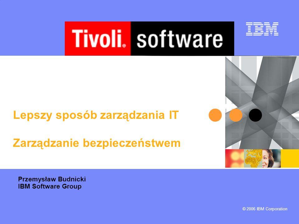 IBM Tivoli Security Compliance Manager 1.Centralna kontrola zgodności stacji roboczych i serwerów z polityką bezpieczeństwa 2.Wymuszanie zgodności przed i po podłączeniu do sieci 3.Autonaprawa przez sekwencje zadań w Tivoli Provisioning Manager 4.Audytowanie i raportowanie bieżącego statusu zgodności z regulacjami Integracja z IBM Global Business Security Index w celu zapewniania ciągłej aktualizacji danych o dostępnych poprawkach i nowych zagrożeniach Integracja z Cisco Network Admission Control w celu kontroli dostępu do sieci opartej o weryfikację zgodności z polityką bezpieczeństwa Nowy interfejs dla końcowego użytkownika pozwalający szybko zidentyfikować naruszenia polityki i zautomatyzować naprawę przez Tivoli Provisioning Manager Co nowego Produkt dostępny i w pełni wspierany Ostatnia aktualizacja – luty 2005 Dostępność