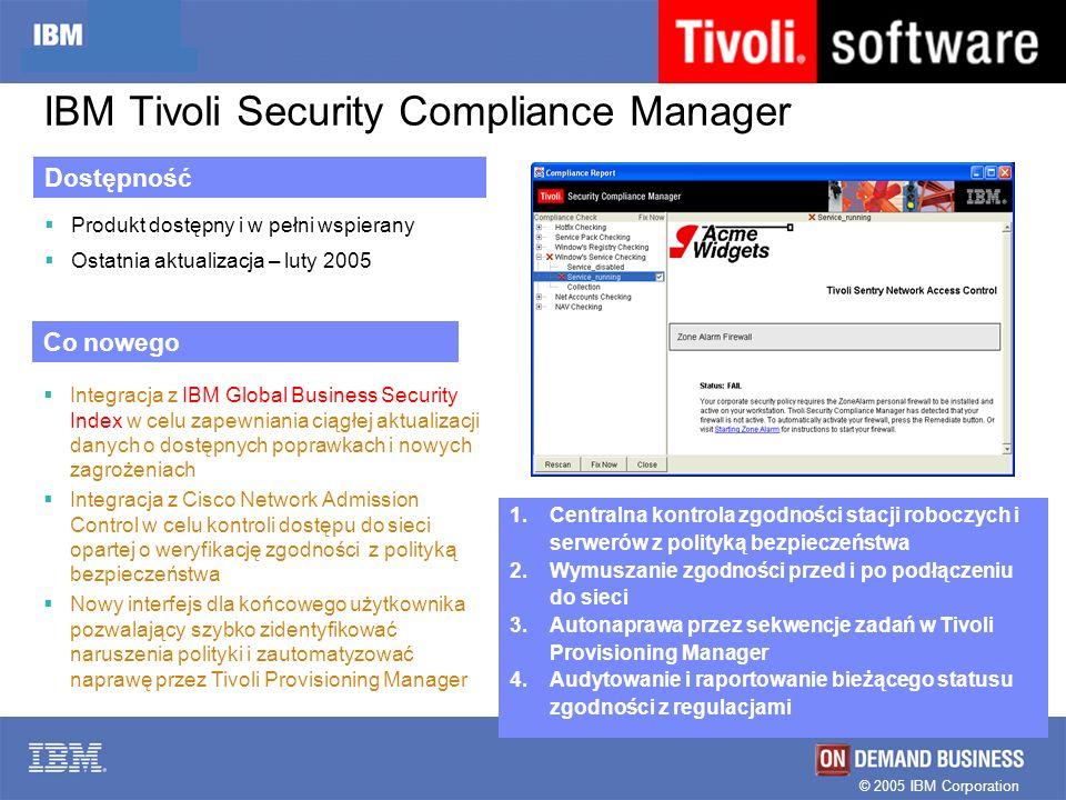 IBM Tivoli Security Compliance Manager 1.Centralna kontrola zgodności stacji roboczych i serwerów z polityką bezpieczeństwa 2.Wymuszanie zgodności prz