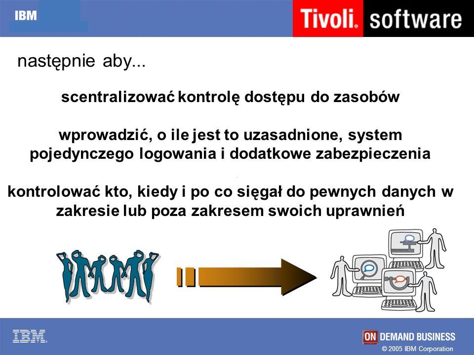 © 2005 IBM Corporation następnie aby... scentralizować kontrolę dostępu do zasobów wprowadzić, o ile jest to uzasadnione, system pojedynczego logowani