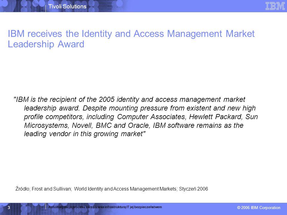 © 2005 IBM Corporation IBM Tivoli Identity Manager - schemat działania Generowanie decyzji TIM Identyfikacja zmiany (add/del/mod) Systemy Kadrowe Detekcja i korelacja z lokalnymi uprawnieniami Uaktualnienie konta Konta na 70 różnych platformach.