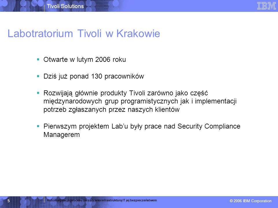 © 2005 IBM Corporation Tivoli Directory Server – fundament Super skalowalna architektura –Obsługa 120+ milionów obiektów –Zawiera LDAP proxy – zwiększona wydajność, niezawodność i bezpieczeństwo Wysoka wydajność –~8000 operacji na sekundę na pojedynczym serwerze (Linux, 4 CPU) Wydajna alternatywa dla OpenLDAP –Dostępny bezpłatnie do pobrania na stronach www.ibm.com –Możliwość wykupienia wsparcia technicznego