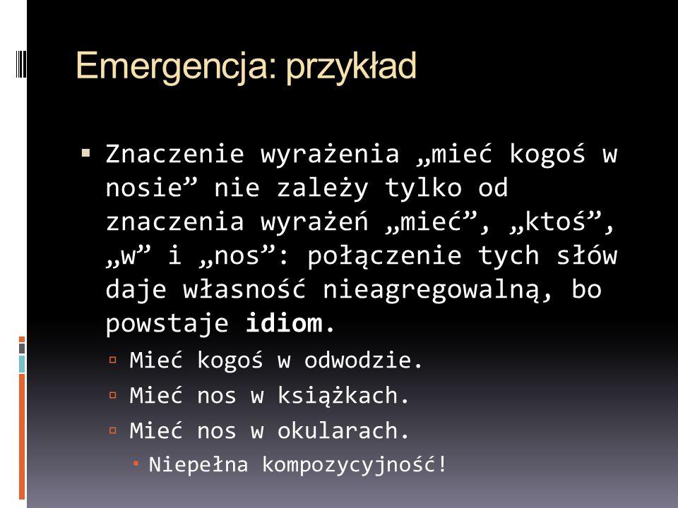 Emergencja: przykład Znaczenie wyrażenia mieć kogoś w nosie nie zależy tylko od znaczenia wyrażeń mieć, ktoś, w i nos: połączenie tych słów daje własn