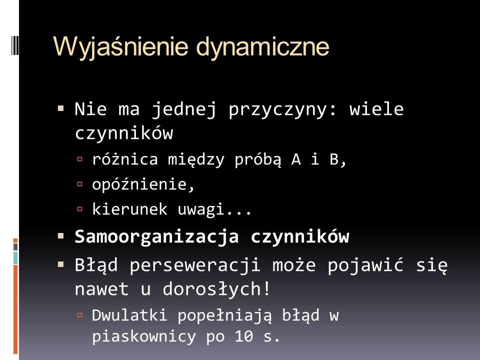 Wyjaśnienie dynamiczne Nie ma jednej przyczyny: wiele czynników różnica między próbą A i B, opóźnienie, kierunek uwagi... Samoorganizacja czynników Bł
