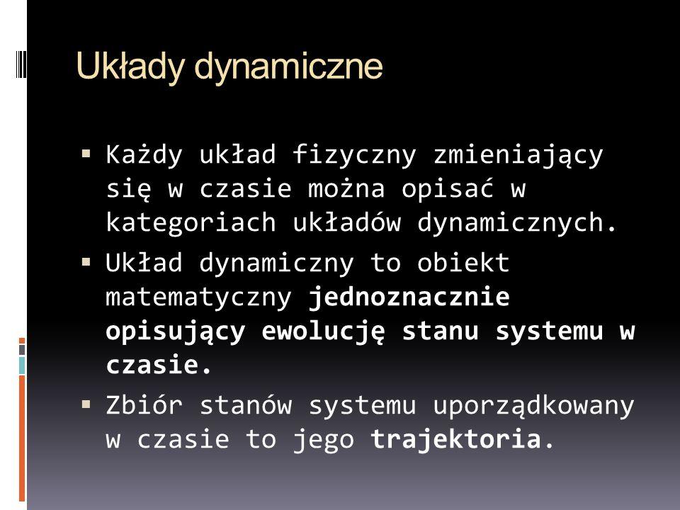 Układy dynamiczne Każdy układ fizyczny zmieniający się w czasie można opisać w kategoriach układów dynamicznych. Układ dynamiczny to obiekt matematycz