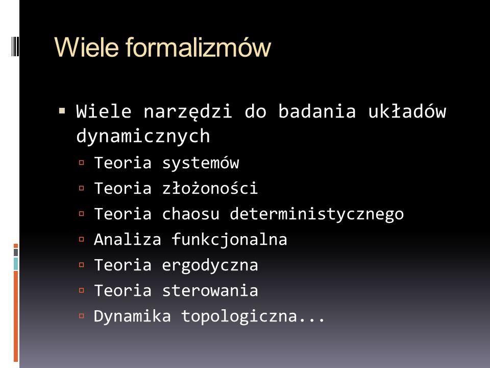 Wiele formalizmów Wiele narzędzi do badania układów dynamicznych Teoria systemów Teoria złożoności Teoria chaosu deterministycznego Analiza funkcjonal
