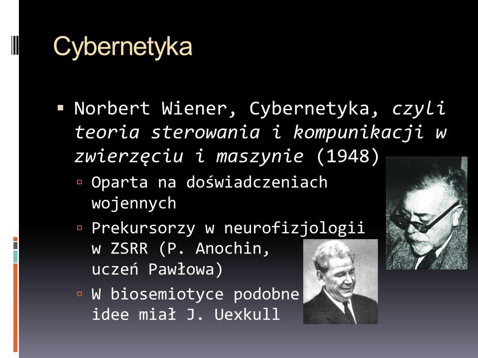 Cybernetyka Norbert Wiener, Cybernetyka, czyli teoria sterowania i kompunikacji w zwierzęciu i maszynie (1948) Oparta na doświadczeniach wojennych Pre