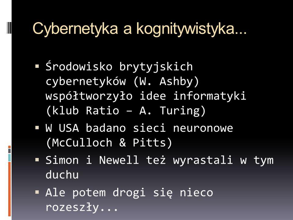 Cybernetyka a kognitywistyka... Środowisko brytyjskich cybernetyków (W. Ashby) współtworzyło idee informatyki (klub Ratio – A. Turing) W USA badano si
