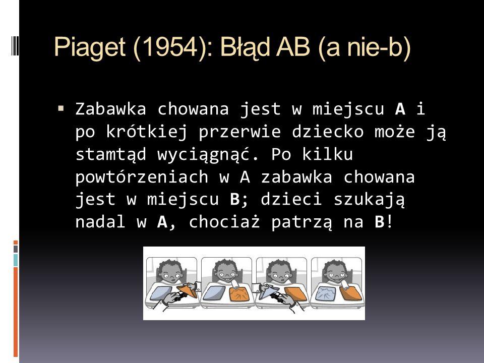 Piaget (1954): Błąd AB (a nie-b) Zabawka chowana jest w miejscu A i po krótkiej przerwie dziecko może ją stamtąd wyciągnąć. Po kilku powtórzeniach w A