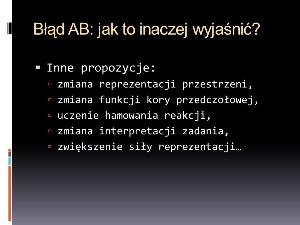Błąd AB: jak to inaczej wyjaśnić? Inne propozycje: zmiana reprezentacji przestrzeni, zmiana funkcji kory przedczołowej, uczenie hamowania reakcji, zmi
