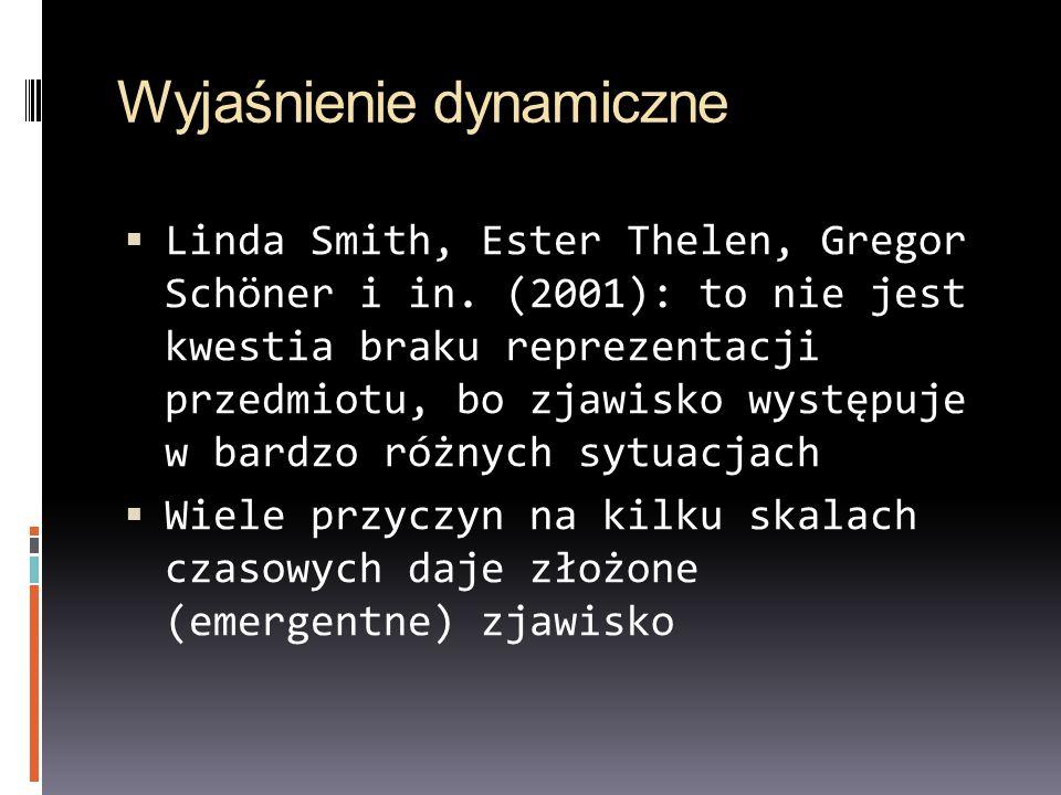 Wyjaśnienie dynamiczne Linda Smith, Ester Thelen, Gregor Schöner i in. (2001): to nie jest kwestia braku reprezentacji przedmiotu, bo zjawisko występu