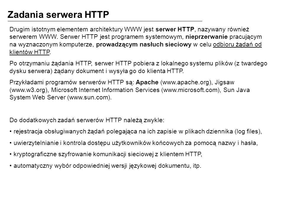 Zadania serwera HTTP Drugim istotnym elementem architektury WWW jest serwer HTTP, nazywany również serwerem WWW. Serwer HTTP jest programem systemowym