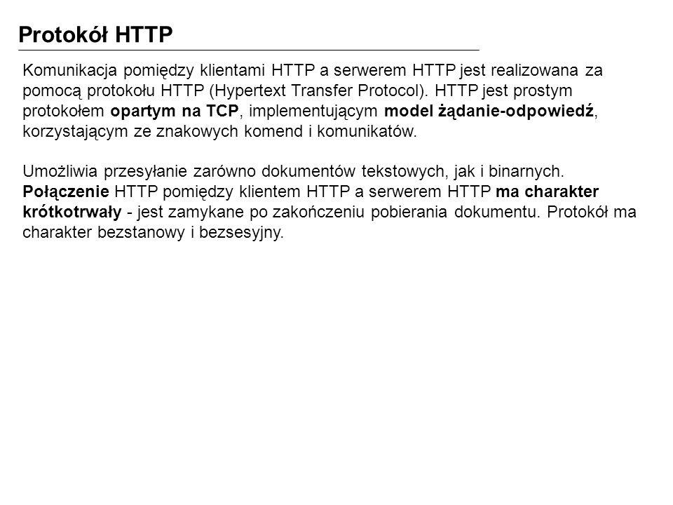 Protokół HTTP Komunikacja pomiędzy klientami HTTP a serwerem HTTP jest realizowana za pomocą protokołu HTTP (Hypertext Transfer Protocol). HTTP jest p