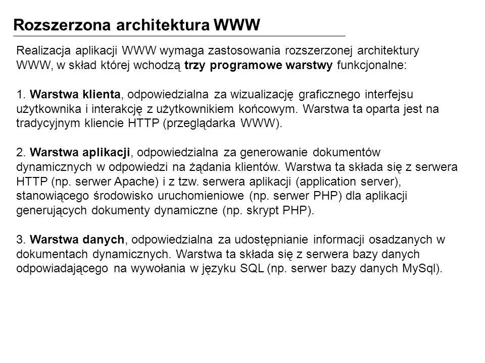 Realizacja aplikacji WWW wymaga zastosowania rozszerzonej architektury WWW, w skład której wchodzą trzy programowe warstwy funkcjonalne: 1. Warstwa kl