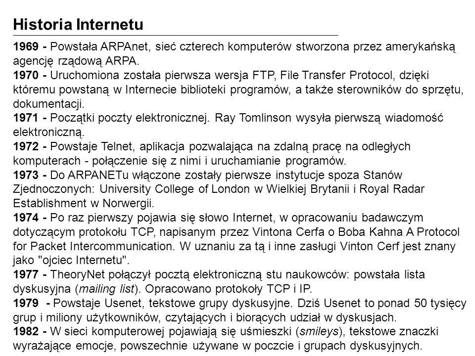 Protokół HTTP Komunikacja pomiędzy klientami HTTP a serwerem HTTP jest realizowana za pomocą protokołu HTTP (Hypertext Transfer Protocol).