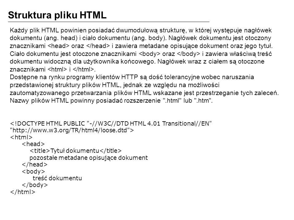Struktura pliku HTML Każdy plik HTML powinien posiadać dwumodułową strukturę, w której występuje nagłówek dokumentu (ang. head) i ciało dokumentu (ang