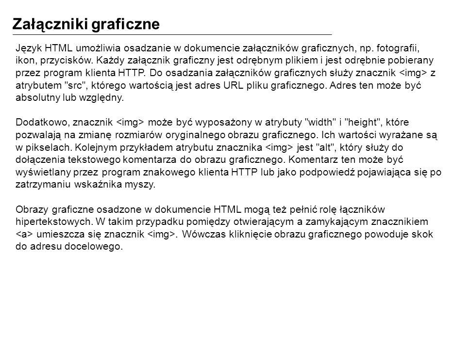 Załączniki graficzne Język HTML umożliwia osadzanie w dokumencie załączników graficznych, np. fotografii, ikon, przycisków. Każdy załącznik graficzny