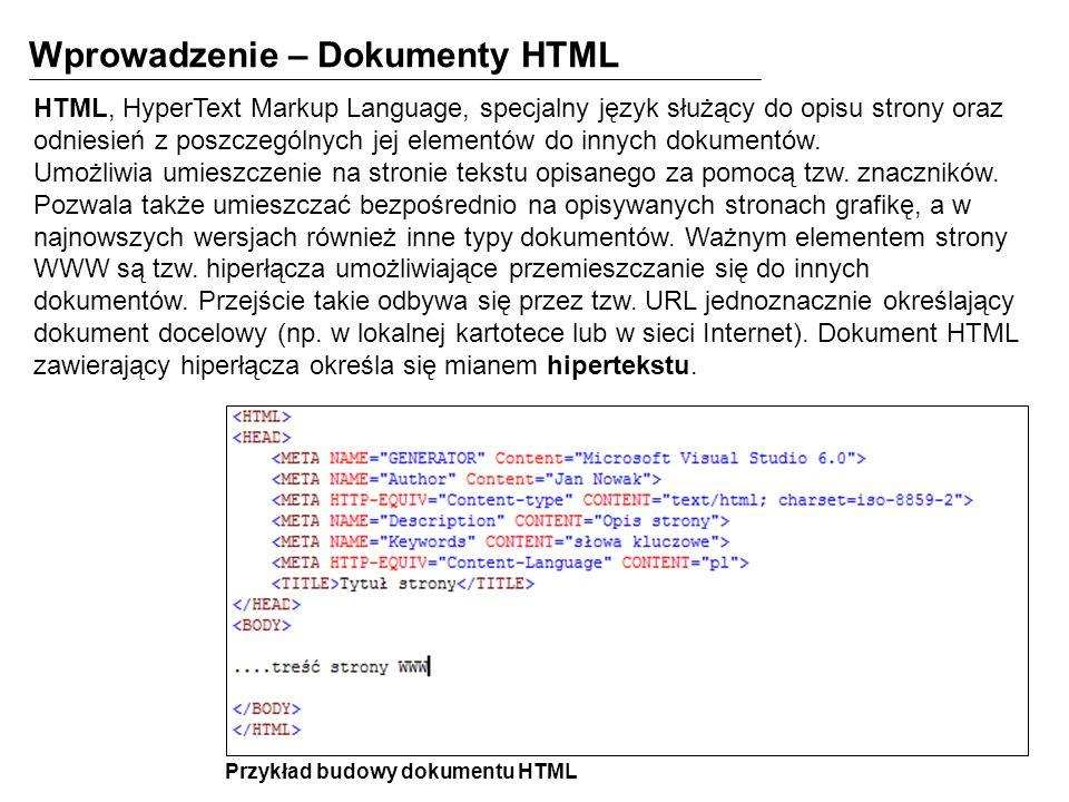 Wprowadzenie – Dokumenty HTML HTML, HyperText Markup Language, specjalny język służący do opisu strony oraz odniesień z poszczególnych jej elementów d
