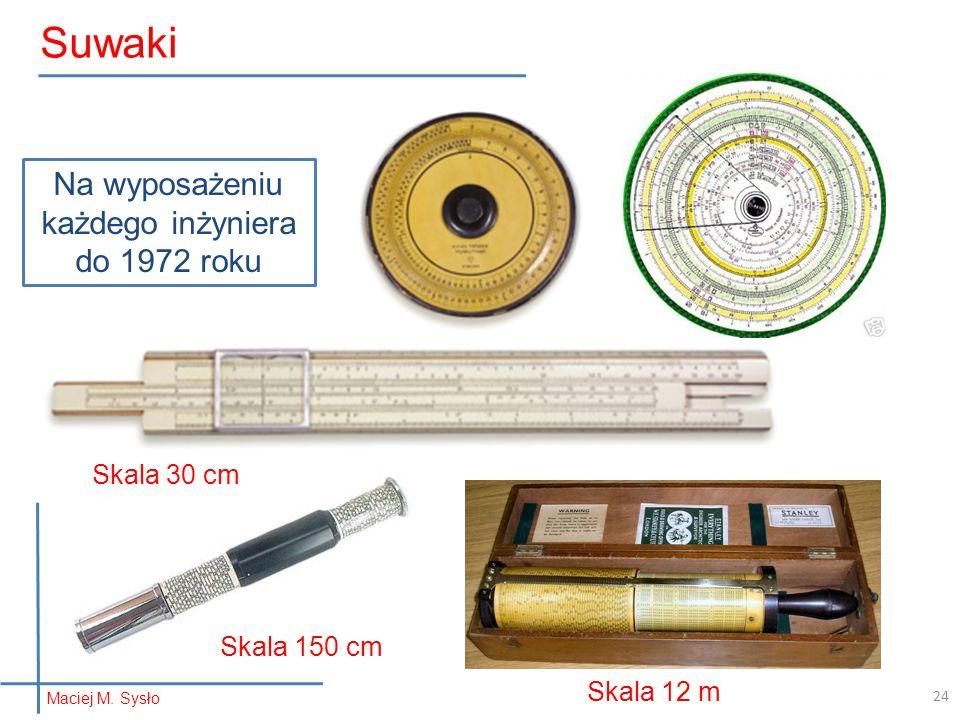 Maciej M. Sysło Suwaki Na wyposażeniu każdego inżyniera do 1972 roku Skala 30 cm Skala 150 cm Skala 12 m 24