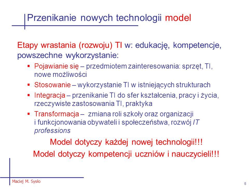Przenikanie nowych technologii model Etapy wrastania (rozwoju) TI w: edukację, kompetencje, powszechne wykorzystanie: Pojawianie się – przedmiotem zai