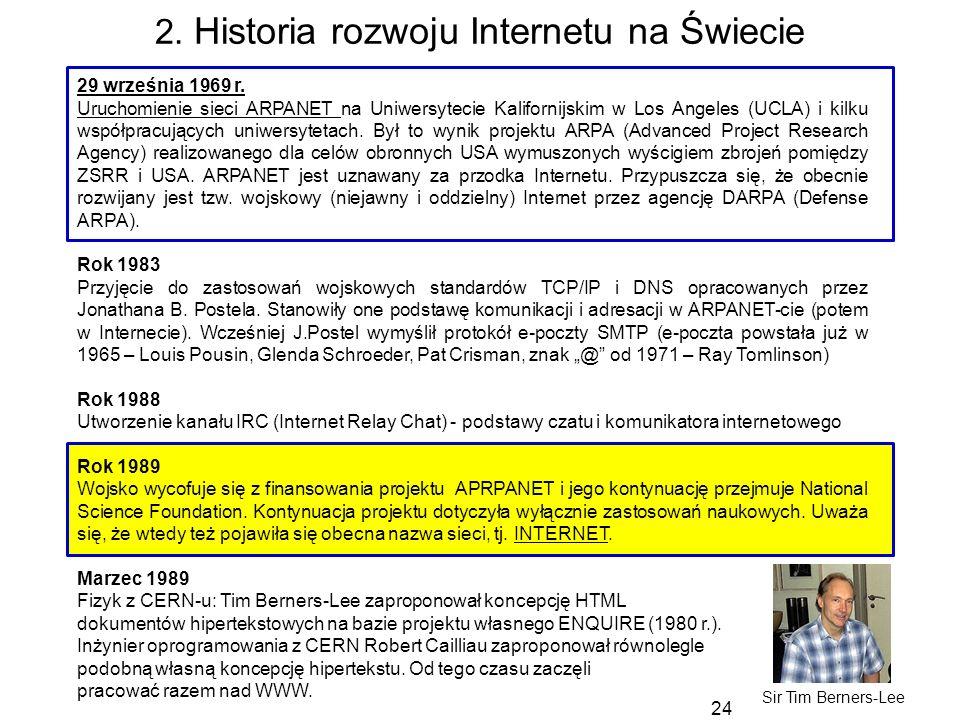24 2. Historia rozwoju Internetu na Świecie 29 września 1969 r. Uruchomienie sieci ARPANET na Uniwersytecie Kalifornijskim w Los Angeles (UCLA) i kilk