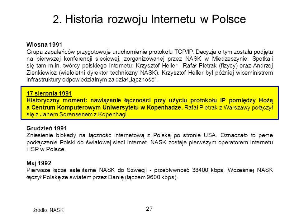 27 2. Historia rozwoju Internetu w Polsce Wiosna 1991 Grupa zapaleńców przygotowuje uruchomienie protokołu TCP/IP. Decyzja o tym została podjęta na pi