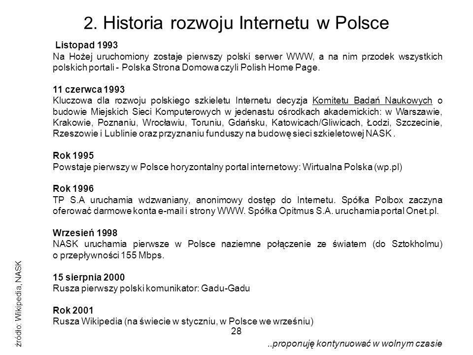 28 2. Historia rozwoju Internetu w Polsce Listopad 1993 Na Hożej uruchomiony zostaje pierwszy polski serwer WWW, a na nim przodek wszystkich polskich