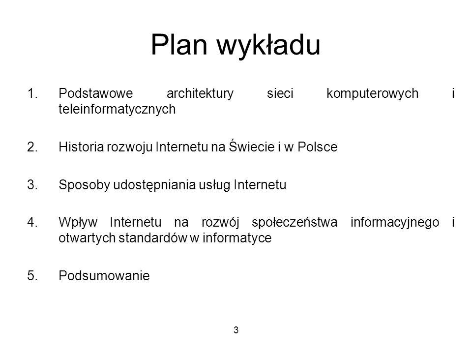3 Plan wykładu 1.Podstawowe architektury sieci komputerowych i teleinformatycznych 2.Historia rozwoju Internetu na Świecie i w Polsce 3.Sposoby udostę