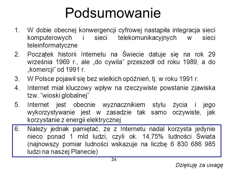 34 Podsumowanie 1.W dobie obecnej konwergencji cyfrowej nastąpiła integracja sieci komputerowych i sieci telekomunikacyjnych w sieci teleinformatyczne