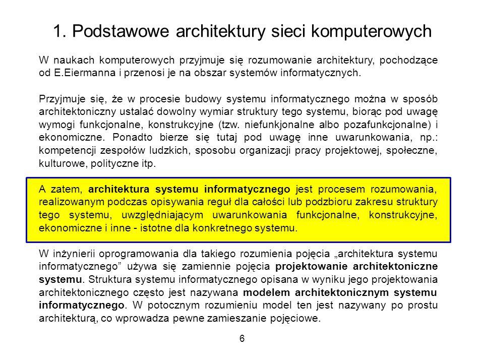 6 1. Podstawowe architektury sieci komputerowych W naukach komputerowych przyjmuje się rozumowanie architektury, pochodzące od E.Eiermanna i przenosi