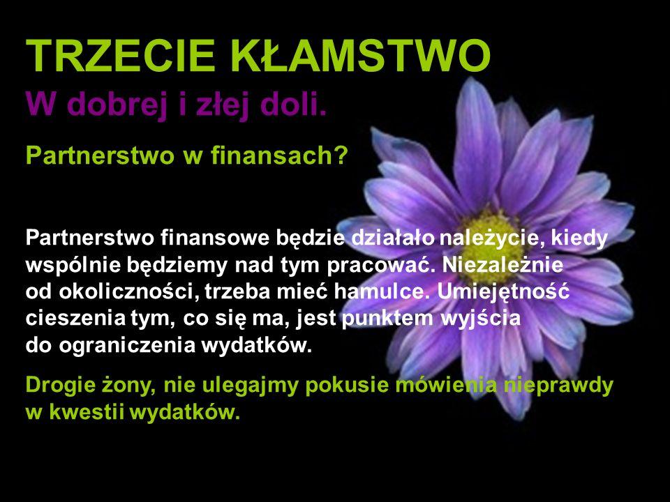 TRZECIE KŁAMSTWO W dobrej i złej doli. Partnerstwo w finansach? Partnerstwo finansowe będzie działało należycie, kiedy wspólnie będziemy nad tym praco