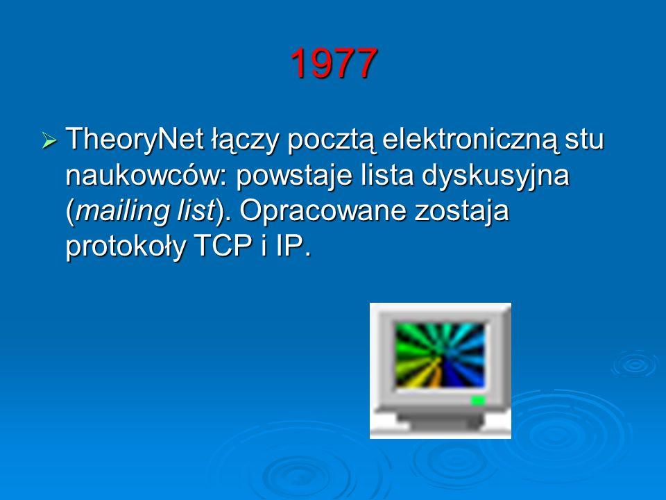 1977 TheoryNet łączy pocztą elektroniczną stu naukowców: powstaje lista dyskusyjna (mailing list). Opracowane zostaja protokoły TCP i IP. TheoryNet łą