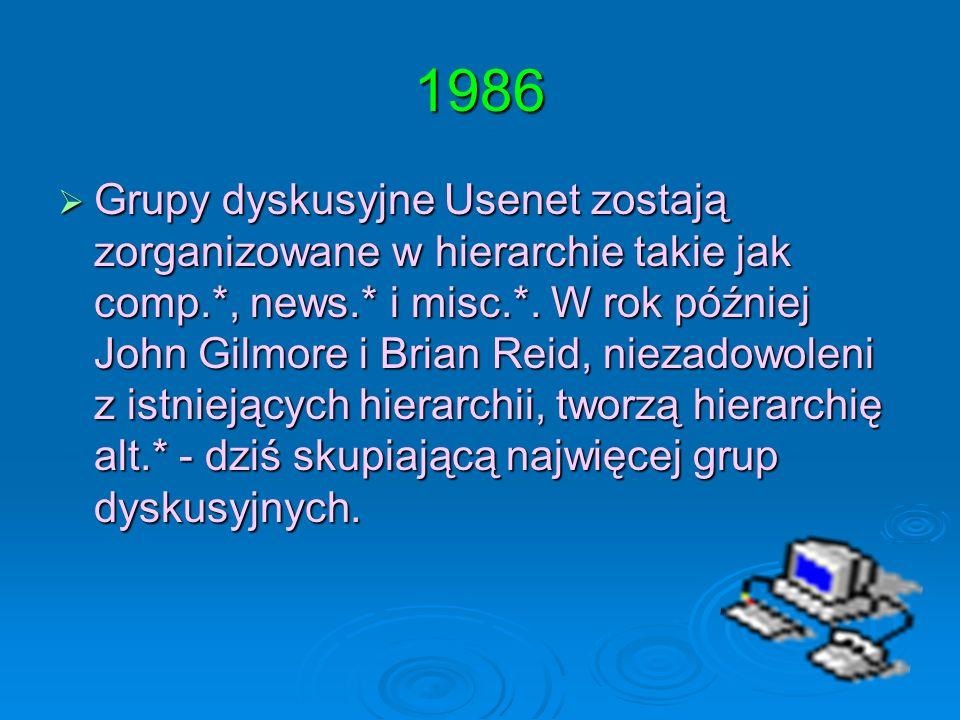1986 Grupy dyskusyjne Usenet zostają zorganizowane w hierarchie takie jak comp.*, news.* i misc.*. W rok później John Gilmore i Brian Reid, niezadowol