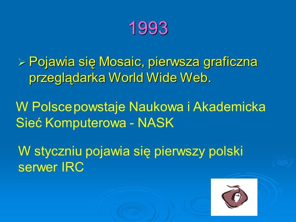 1993 Pojawia się Mosaic, pierwsza graficzna przeglądarka World Wide Web. Pojawia się Mosaic, pierwsza graficzna przeglądarka World Wide Web. W Polsce