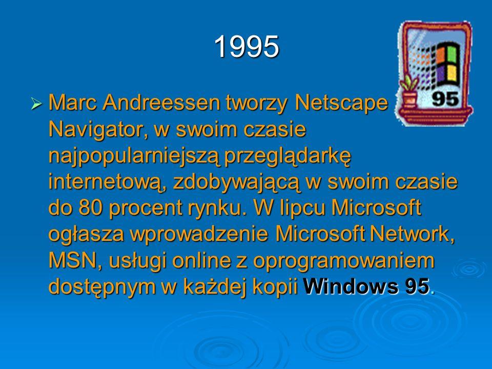 1995 Marc Andreessen tworzy Netscape Navigator, w swoim czasie najpopularniejszą przeglądarkę internetową, zdobywającą w swoim czasie do 80 procent ry