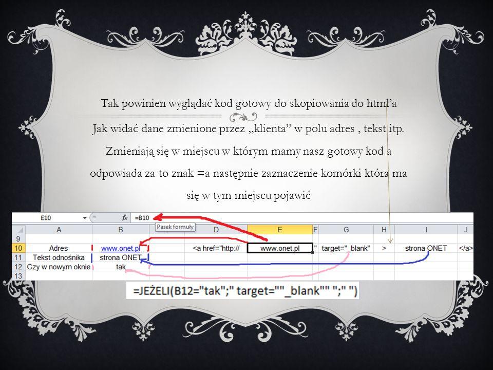 Tak powinien wyglądać kod gotowy do skopiowania do htmla Jak widać dane zmienione przez klienta w polu adres, tekst itp.