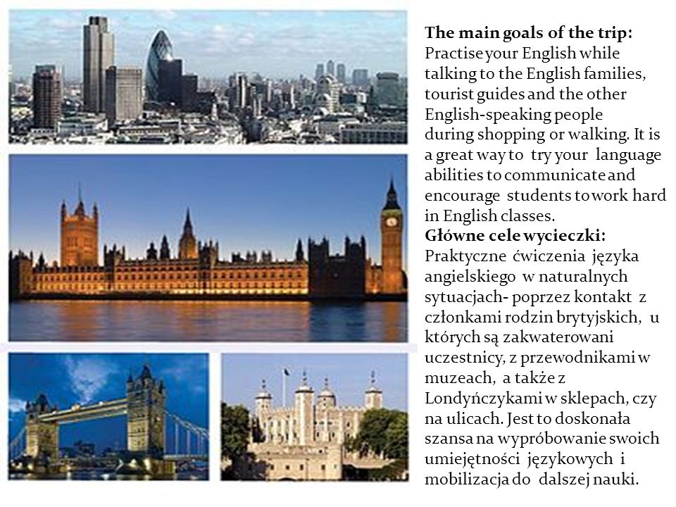 The most important places in London Najważniejsze miejsca w Londynie 1.Big Ben 2.Buckingham Palace 3.St,Paul s Cathedral 4.Tower of London 5.Tower Bridge 6.London Eye 7.Westminister Abbey 8.Trafalgar Square and Nelson s Column 9.Oxford Street 10.Hyde Park 11.British Museum