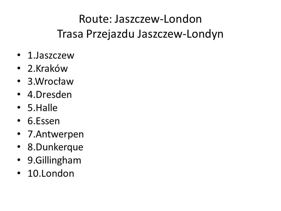Route: Jaszczew –London Trasa Przejazdu Jaszczew-Londyn