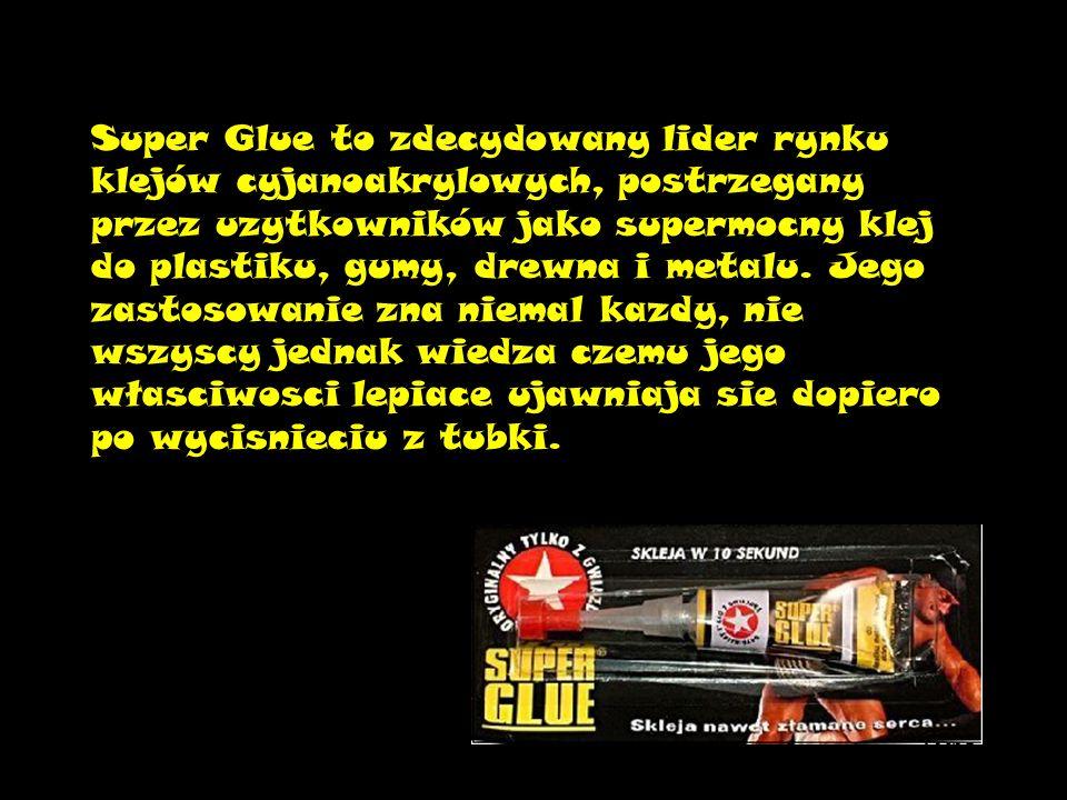 Super Glue to zdecydowany lider rynku klejów cyjanoakrylowych, postrzegany przez uzytkowników jako supermocny klej do plastiku, gumy, drewna i metalu.